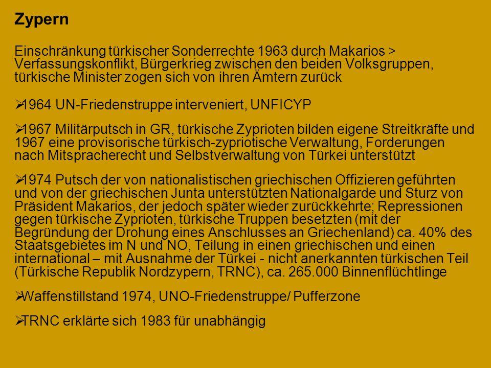 Zypern Einschränkung türkischer Sonderrechte 1963 durch Makarios > Verfassungskonflikt, Bürgerkrieg zwischen den beiden Volksgruppen, türkische Minist
