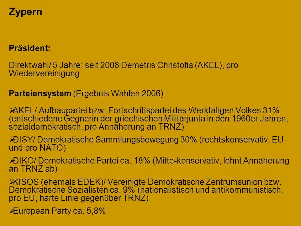 Zypern Präsident: Direktwahl/ 5 Jahre; seit 2008 Demetris Christofia (AKEL), pro Wiedervereinigung Parteiensystem (Ergebnis Wahlen 2006):  AKEL/ Aufb