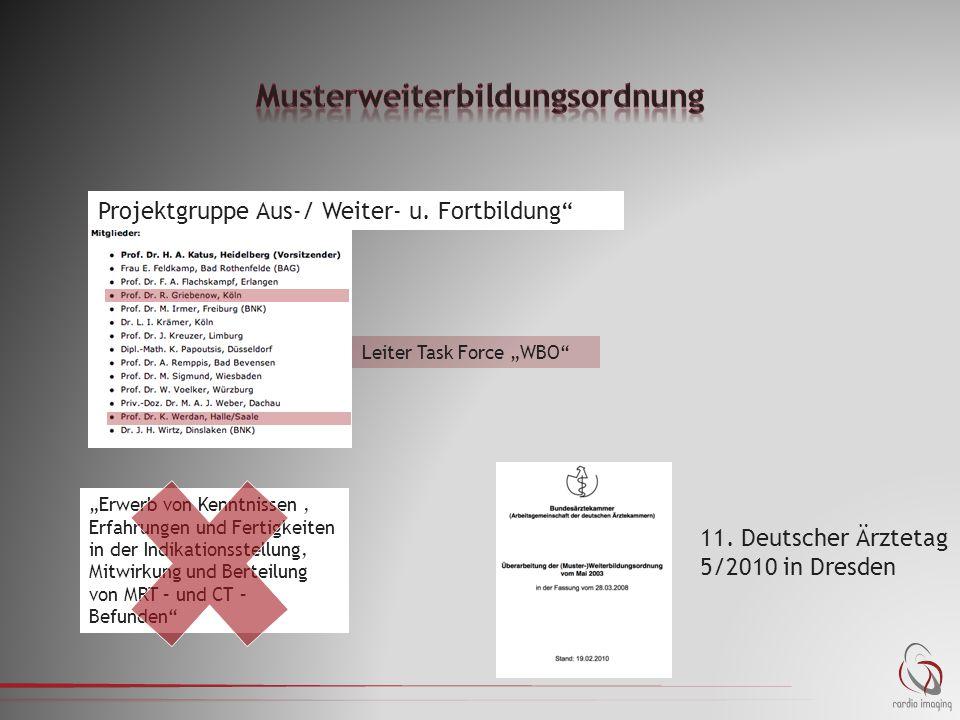 """11. Deutscher Ärztetag 5/2010 in Dresden Leiter Task Force """"WBO"""" Projektgruppe Aus-/ Weiter- u. Fortbildung"""" """"Erwerb von Kenntnissen, Erfahrungen und"""