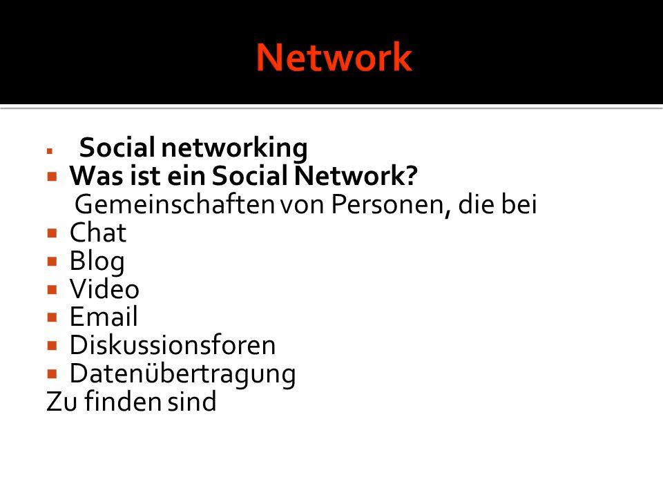  Social networking  Was ist ein Social Network? Gemeinschaften von Personen, die bei  Chat  Blog  Video  Email  Diskussionsforen  Datenübertra