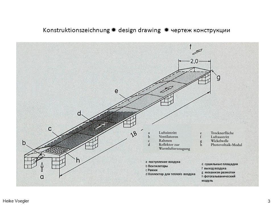 Konstruktionszeichnung  design drawing  чертеж конструкции Heike Voegler 3 a поступление воздуха b Вентиляторы c Рамки d Коллектор для теплого возду