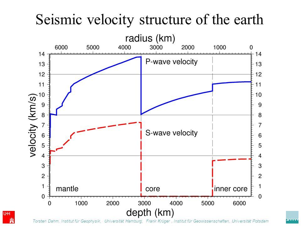 Seismic velocity structure of the earth Torsten Dahm, Institut für Geophysik,. Universität Hamburg, Frank Krüger, Institut für Geowissenschaften, Univ