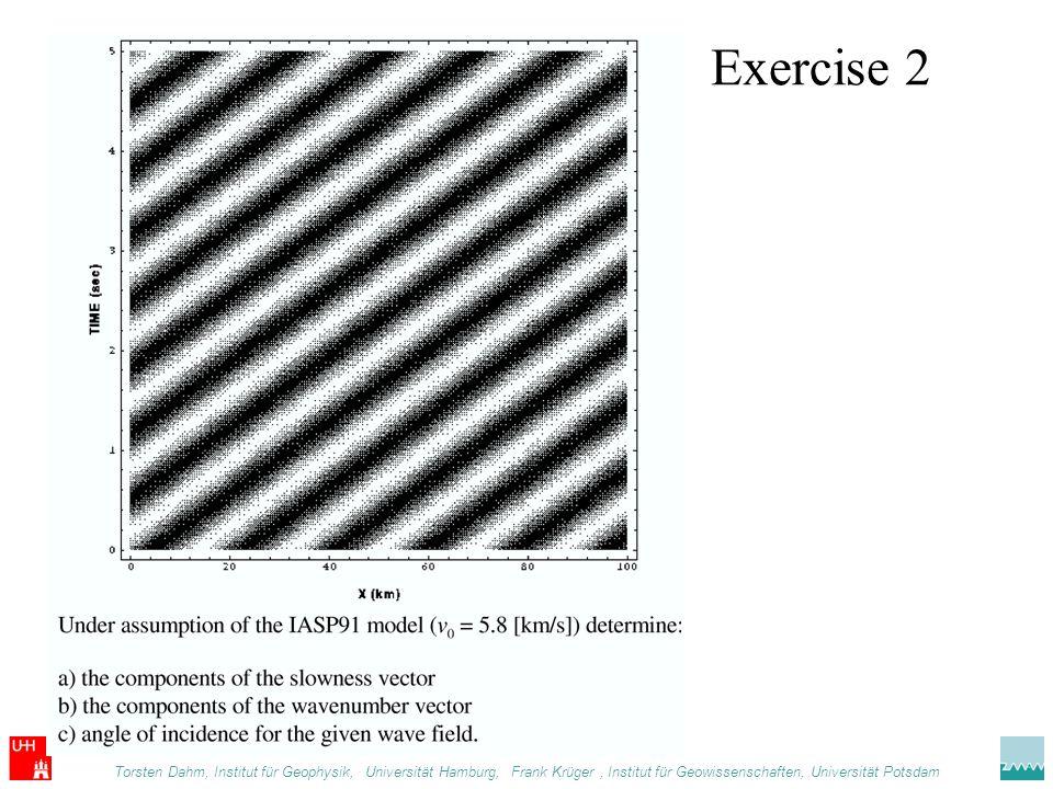 Exercise 2 Torsten Dahm, Institut für Geophysik,. Universität Hamburg, Frank Krüger, Institut für Geowissenschaften, Universität Potsdam