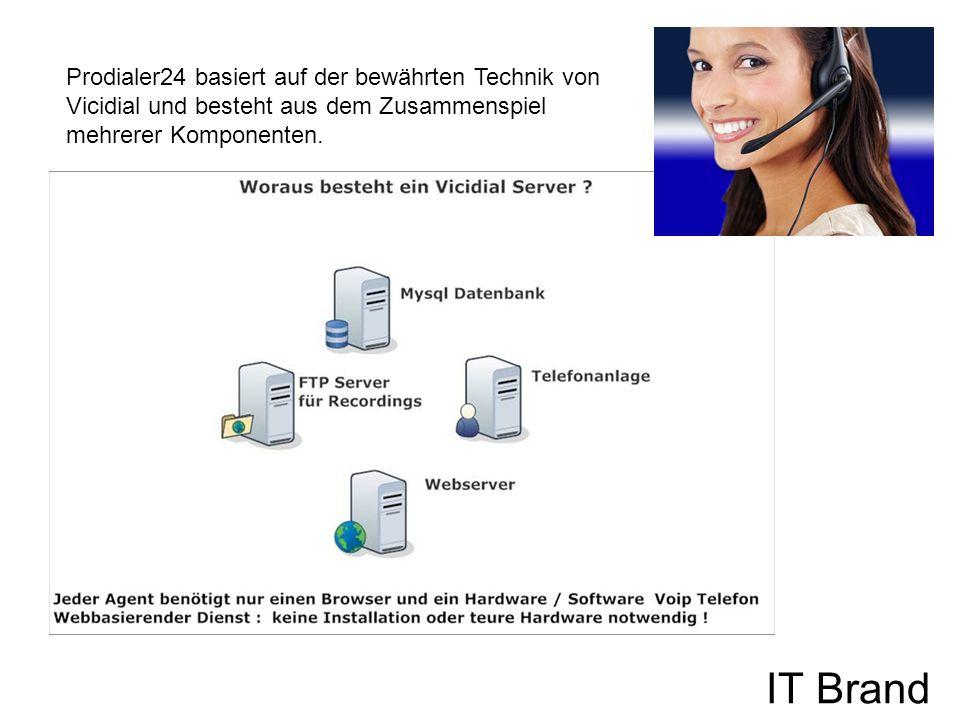 IT Brand Prodialer24 basiert auf der bewährten Technik von Vicidial und besteht aus dem Zusammenspiel mehrerer Komponenten.
