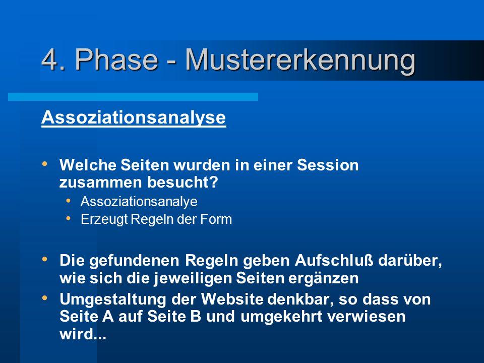 4. Phase - Mustererkennung Assoziationsanalyse Welche Seiten wurden in einer Session zusammen besucht? Assoziationsanalye Erzeugt Regeln der Form Die