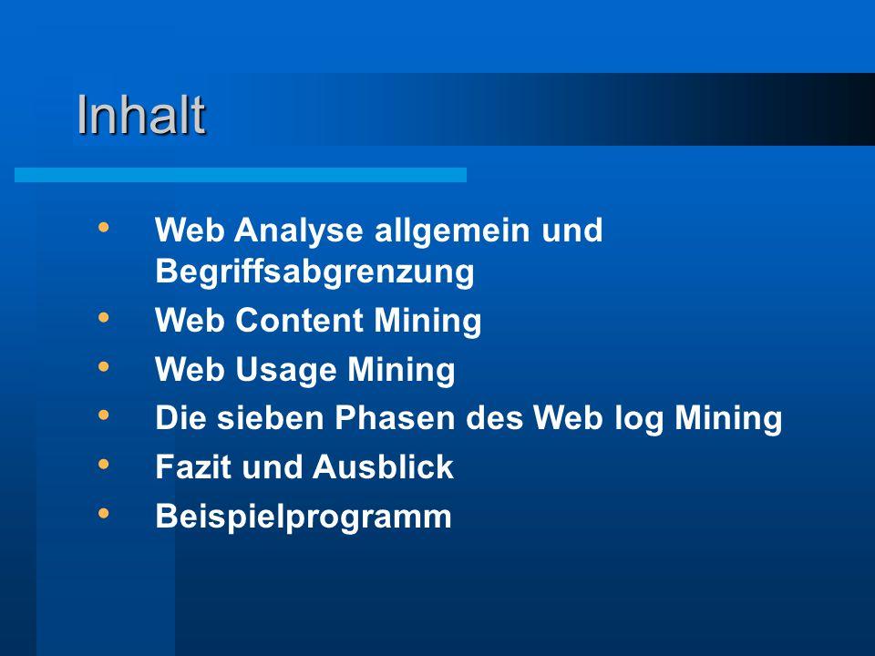 Inhalt Web Analyse allgemein und Begriffsabgrenzung Web Content Mining Web Usage Mining Die sieben Phasen des Web log Mining Fazit und Ausblick Beispi