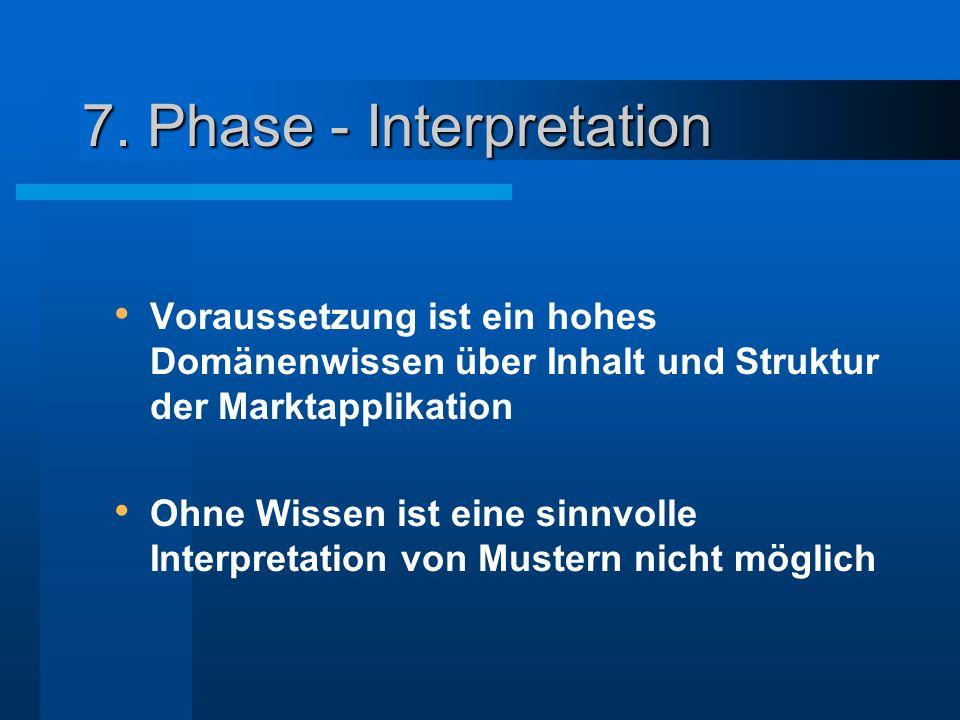 7. Phase - Interpretation Voraussetzung ist ein hohes Domänenwissen über Inhalt und Struktur der Marktapplikation Ohne Wissen ist eine sinnvolle Inter