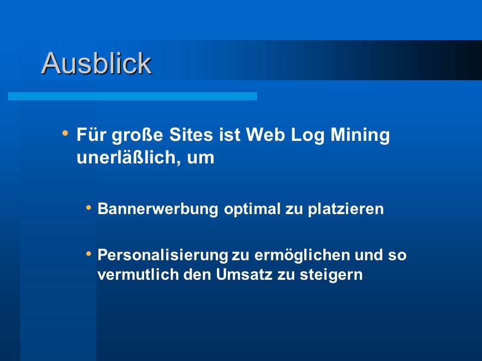 Ausblick Für große Sites ist Web Log Mining unerläßlich, um Bannerwerbung optimal zu platzieren Personalisierung zu ermöglichen und so vermutlich den