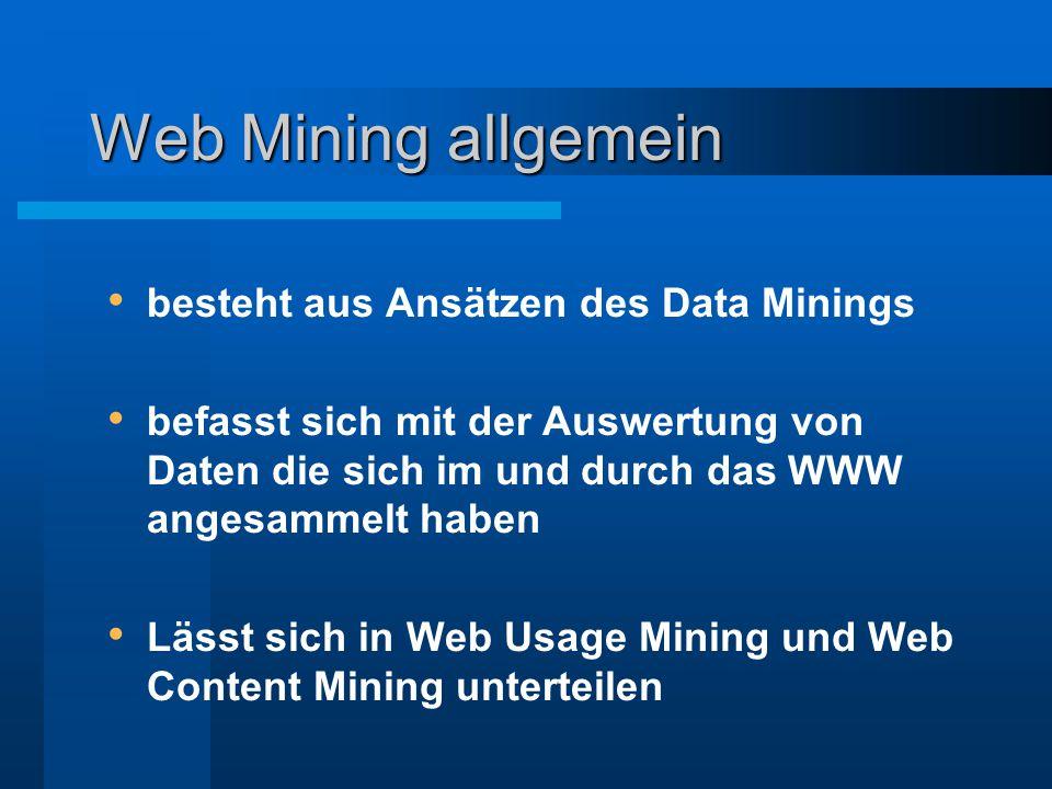 Web Mining allgemein besteht aus Ansätzen des Data Minings befasst sich mit der Auswertung von Daten die sich im und durch das WWW angesammelt haben L