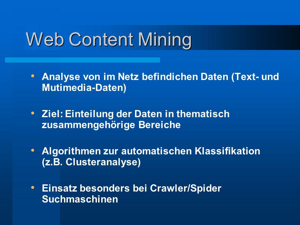 Web Usage Mining Web Log Mining Analyse von Protokolldaten eines WWW-Server Integrated Web Usage Mining Konsumentenbezogene Daten werden mit Protokolldaten zusammengeführt Durch TDDSG sind enge Grenzen gesetzt Web Analyse