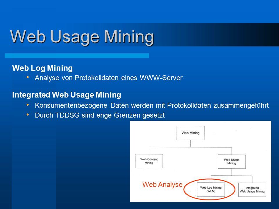 Web Usage Mining Web Log Mining Analyse von Protokolldaten eines WWW-Server Integrated Web Usage Mining Konsumentenbezogene Daten werden mit Protokoll