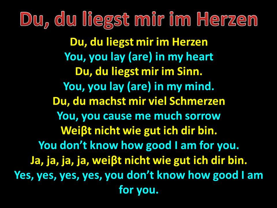 Du, du liegst mir im Herzen You, you lay (are) in my heart Du, du liegst mir im Sinn. You, you lay (are) in my mind. Du, du machst mir viel Schmerzen