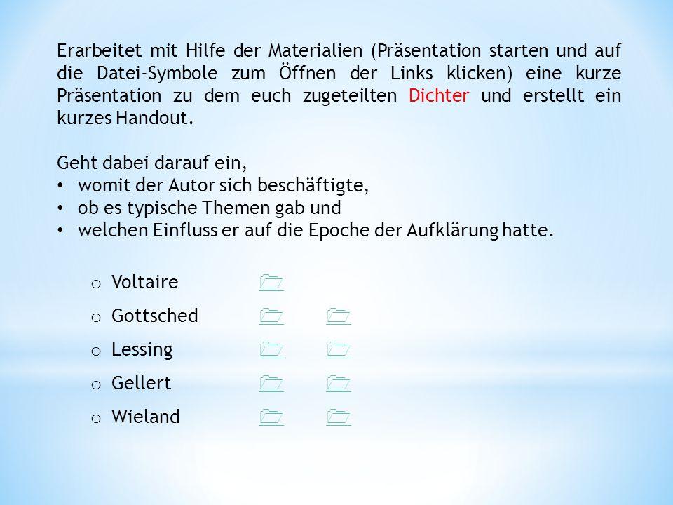 Erarbeitet mit Hilfe der Materialien (Präsentation starten und auf die Datei-Symbole zum Öffnen der Links klicken) eine kurze Präsentation zu dem euch