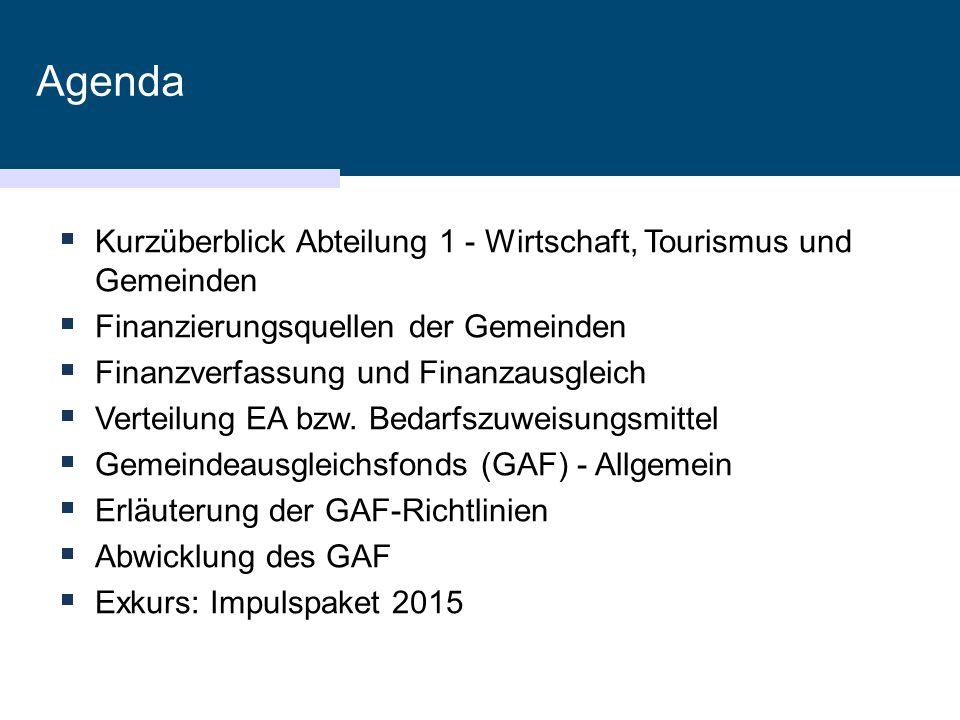 Richtlinienerstellung  2006: Neufassung der Richtlinien zur Abwicklungder Förderungen (Novellierung mit 1.10.2008 und 1.1.2015)  Zielsetzung  Berechenbare, transparente, nachvollziehbare, planbare Ausreichung der Bedarfszuweisungsmittel  Verwaltungsvereinfachung  Ausgleichsfunktion  Anreize schaffen für bestimmte Schwerpunkte  GAF-Beirat  Regierungsbeschluss