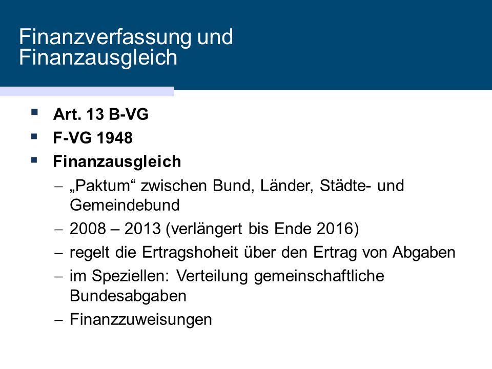 """Finanzverfassung und Finanzausgleich  Art. 13 B-VG  F-VG 1948  Finanzausgleich  """"Paktum"""" zwischen Bund, Länder, Städte- und Gemeindebund  2008 –"""
