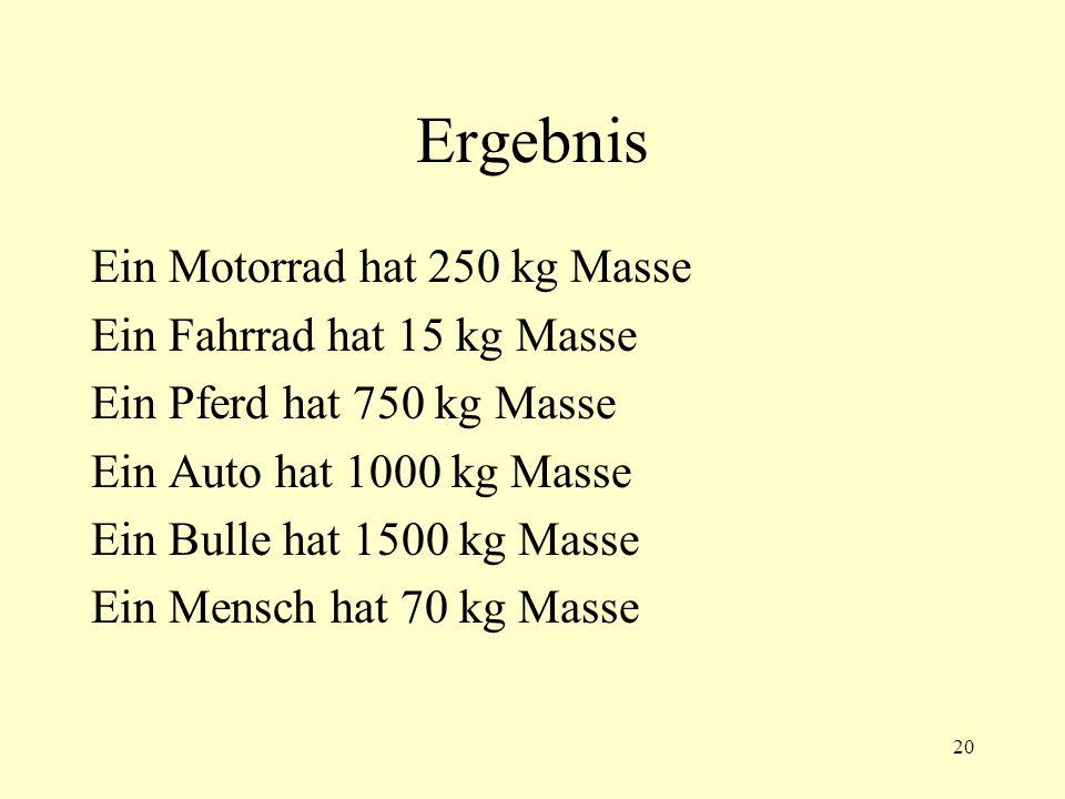 20 Ergebnis Ein Motorrad hat 250 kg Masse Ein Fahrrad hat 15 kg Masse Ein Pferd hat 750 kg Masse Ein Auto hat 1000 kg Masse Ein Bulle hat 1500 kg Masse Ein Mensch hat 70 kg Masse
