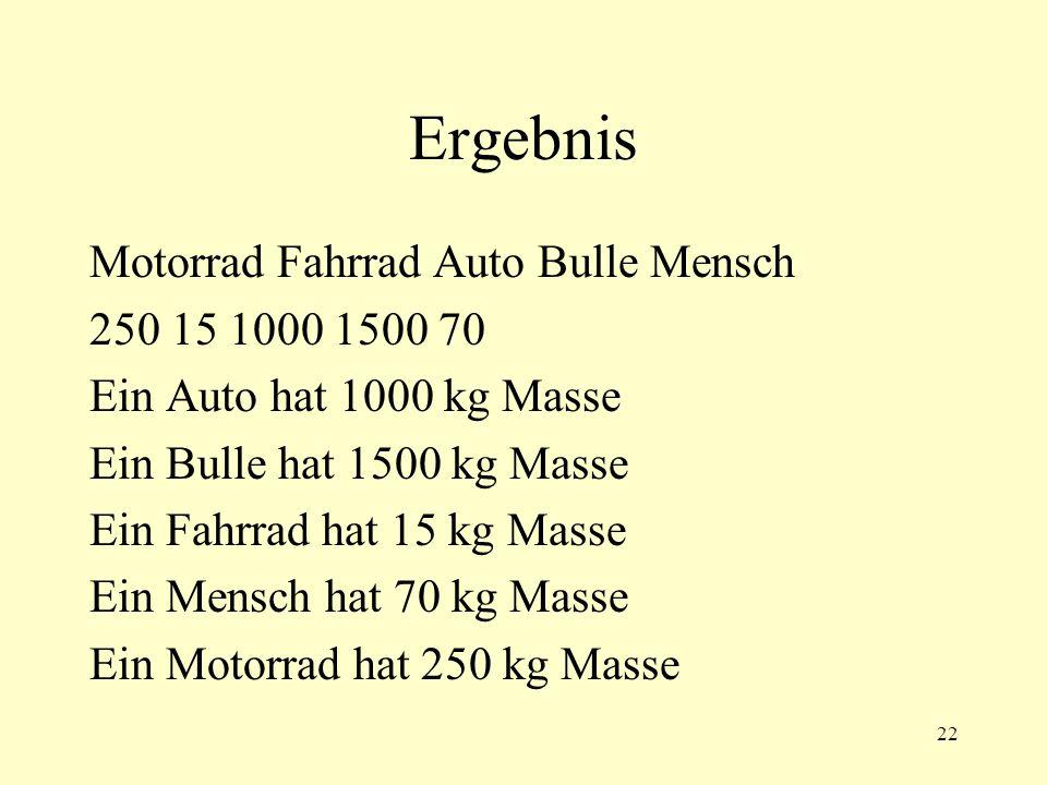 22 Ergebnis Motorrad Fahrrad Auto Bulle Mensch 250 15 1000 1500 70 Ein Auto hat 1000 kg Masse Ein Bulle hat 1500 kg Masse Ein Fahrrad hat 15 kg Masse