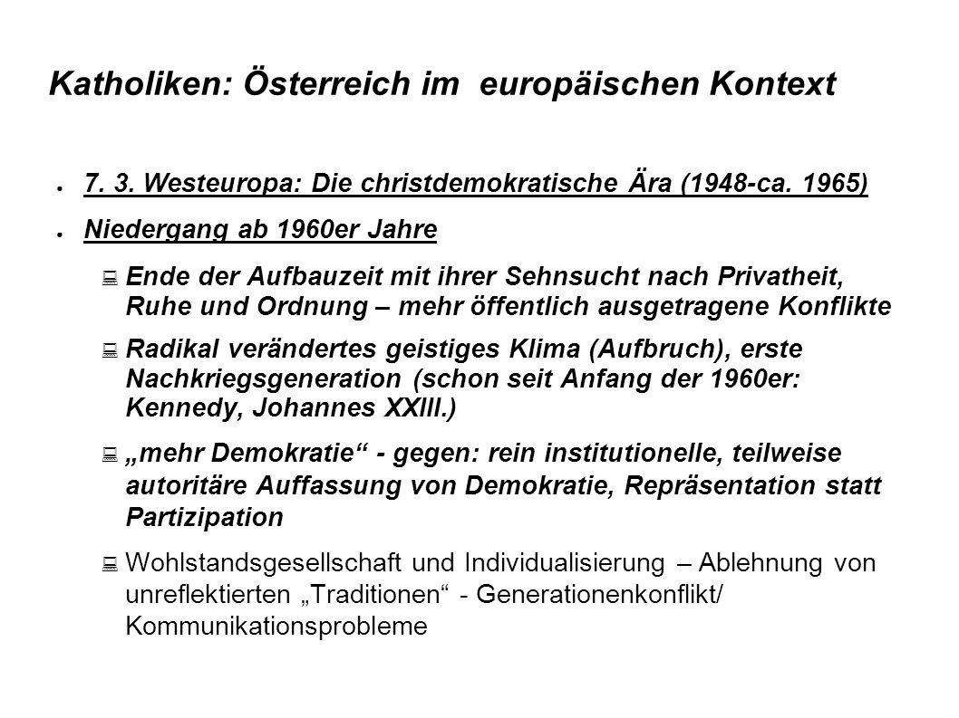 Katholiken: Österreich im europäischen Kontext ● 7. 3. Westeuropa: Die christdemokratische Ära (1948-ca. 1965) ● Niedergang ab 1960er Jahre  Ende der