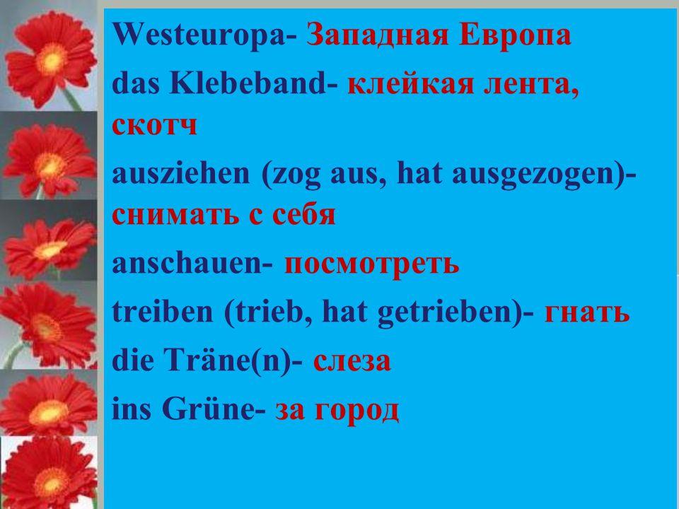 Westeuropa- Западная Европа das Klebeband- клейкая лента, скотч ausziehen (zog aus, hat ausgezogen)- снимать с себя anschauen- посмотреть treiben (trieb, hat getrieben)- гнать die Träne(n)- слеза ins Grüne- за город