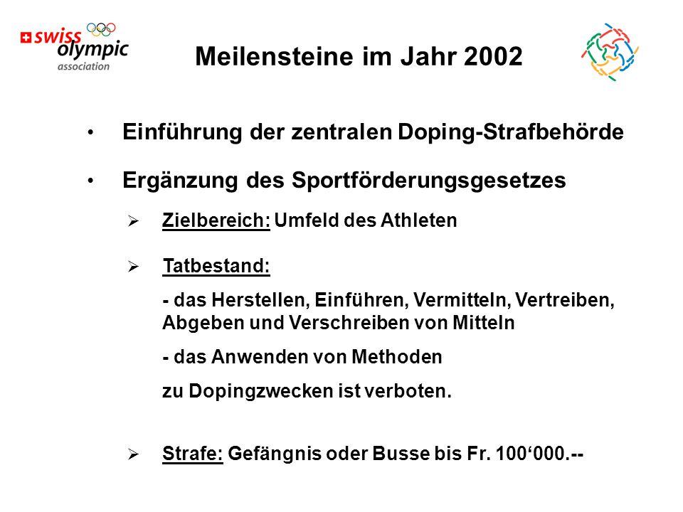Meilensteine im Jahr 2002 Einführung der zentralen Doping-Strafbehörde Ergänzung des Sportförderungsgesetzes  Zielbereich: Umfeld des Athleten  Tatbestand: - das Herstellen, Einführen, Vermitteln, Vertreiben, Abgeben und Verschreiben von Mitteln - das Anwenden von Methoden zu Dopingzwecken ist verboten.