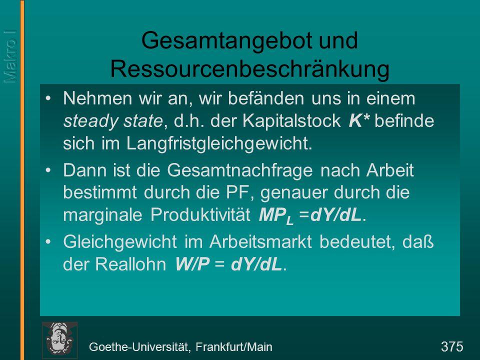 Goethe-Universität, Frankfurt/Main 375 Gesamtangebot und Ressourcenbeschränkung Nehmen wir an, wir befänden uns in einem steady state, d.h.