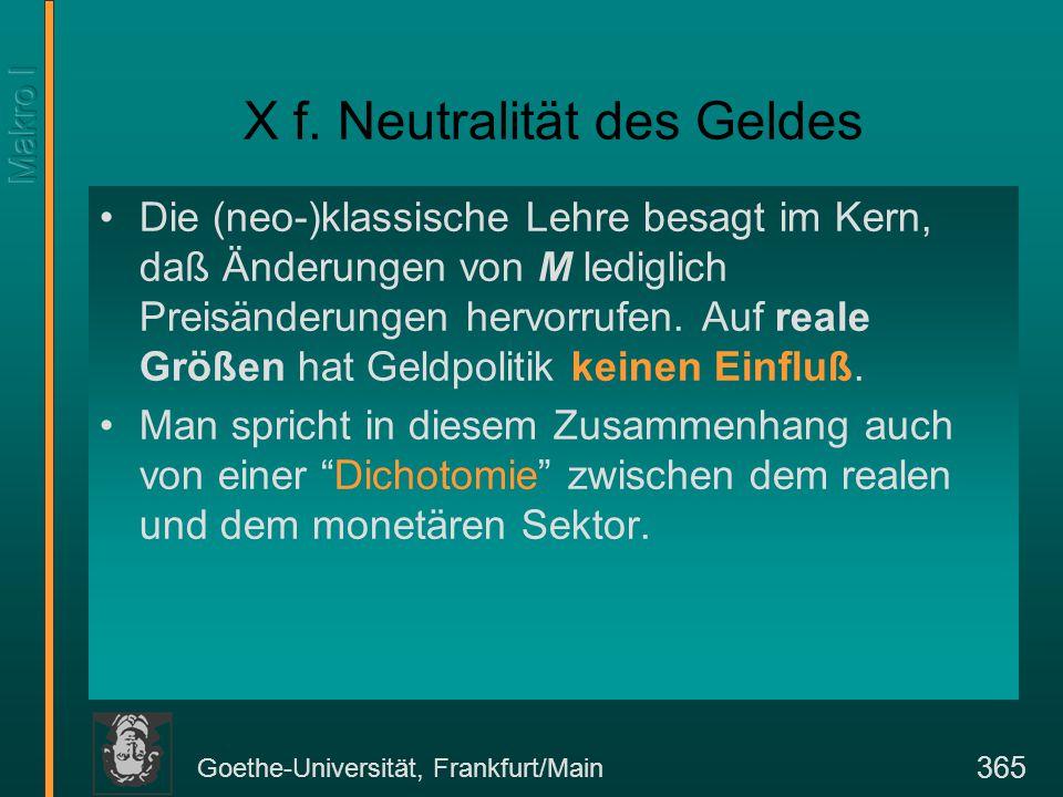 Goethe-Universität, Frankfurt/Main 365 X f.