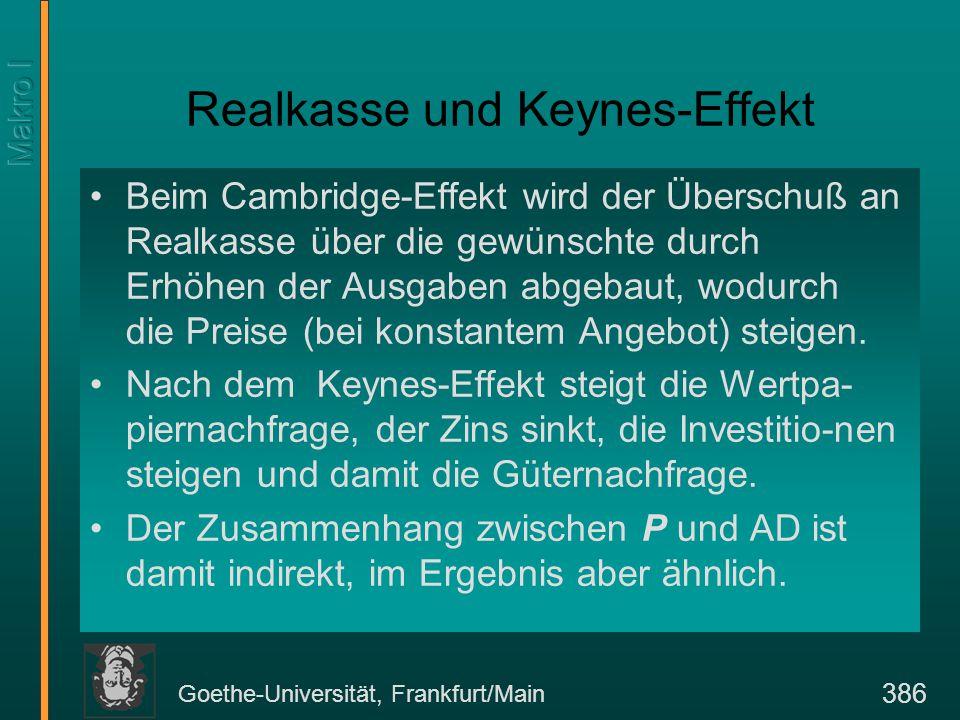 Goethe-Universität, Frankfurt/Main 386 Realkasse und Keynes-Effekt Beim Cambridge-Effekt wird der Überschuß an Realkasse über die gewünschte durch Erhöhen der Ausgaben abgebaut, wodurch die Preise (bei konstantem Angebot) steigen.