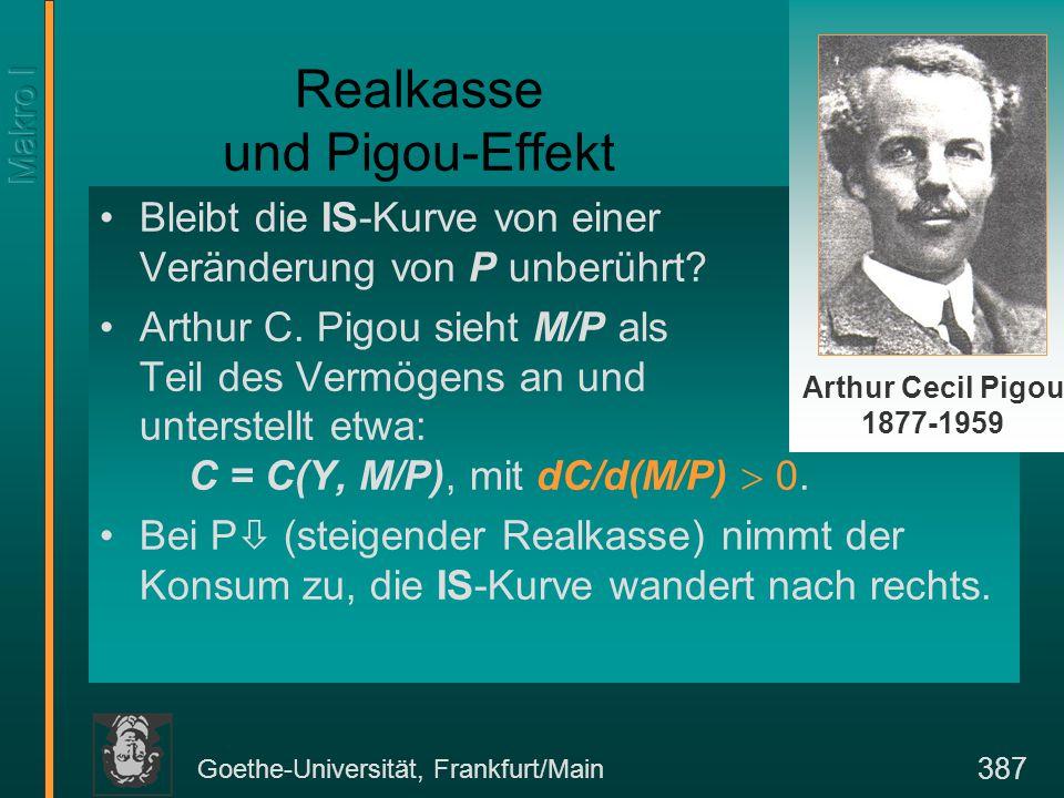 Goethe-Universität, Frankfurt/Main 387 Realkasse und Pigou-Effekt Bleibt die IS-Kurve von einer Veränderung von P unberührt.