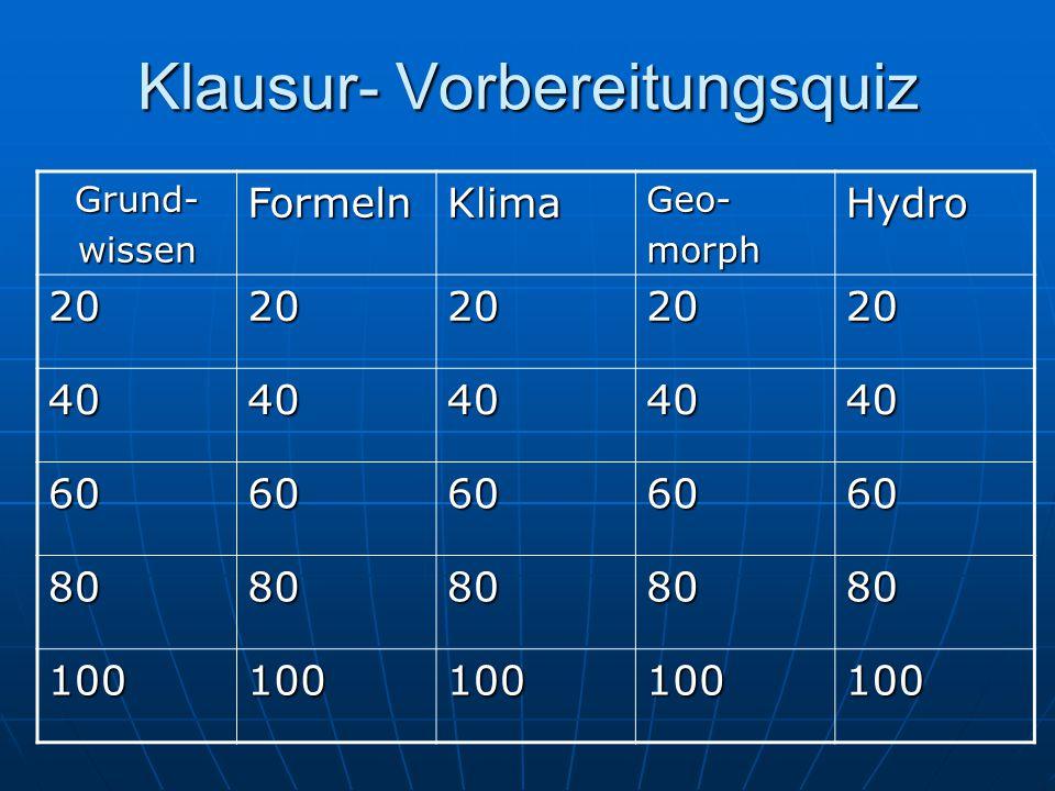 Klausur- Vorbereitungsquiz Grund-wissenFormelnKlimaGeo-morphHydro 2020202020 4040404040 6060606060 8080808080 100100100100100