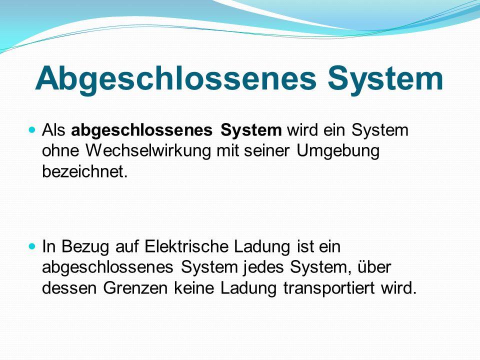 Abgeschlossenes System Als abgeschlossenes System wird ein System ohne Wechselwirkung mit seiner Umgebung bezeichnet.