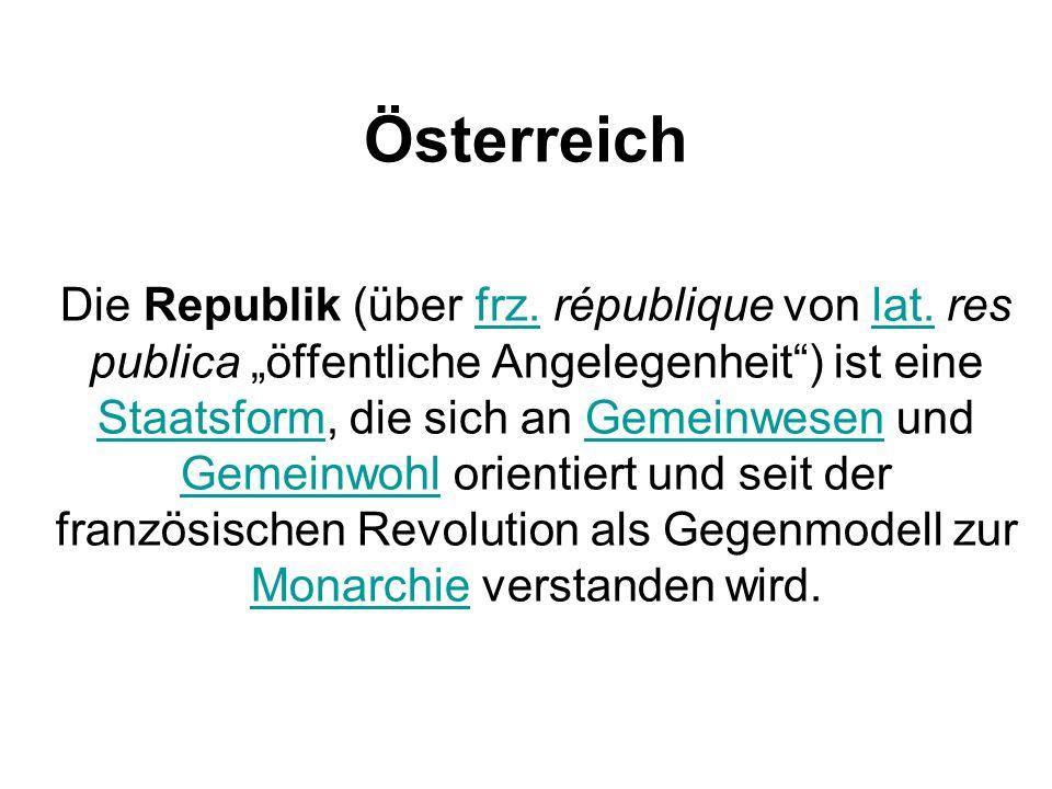 Österreich Die Republik (über frz.république von lat.
