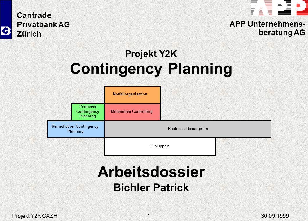 Projekt Y2K CAZH30.09.199912 Premises Contingency Planning Unterstützung des Bereichs INDI der Cantrade Zürich beim Erarbeiten der Grundlagen und Unterstützung bei der Implementation Erstellung des Leitfadens zum Premises Contingency Planning aufgrund der der UBS-Vorgaben Durchführung eines Workshops zur Besprechung des Gesamtprojektes und des Vorgehens Aufgabenstellung