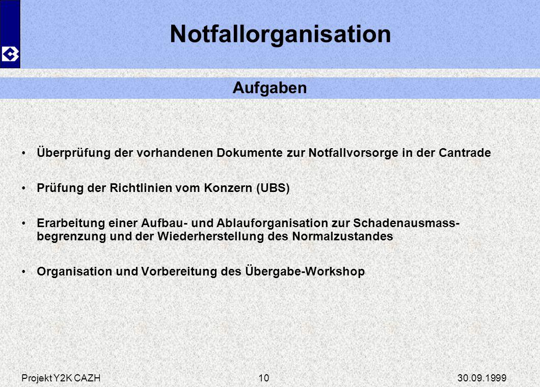 Projekt Y2K CAZH30.09.199910 Notfallorganisation Überprüfung der vorhandenen Dokumente zur Notfallvorsorge in der Cantrade Prüfung der Richtlinien vom