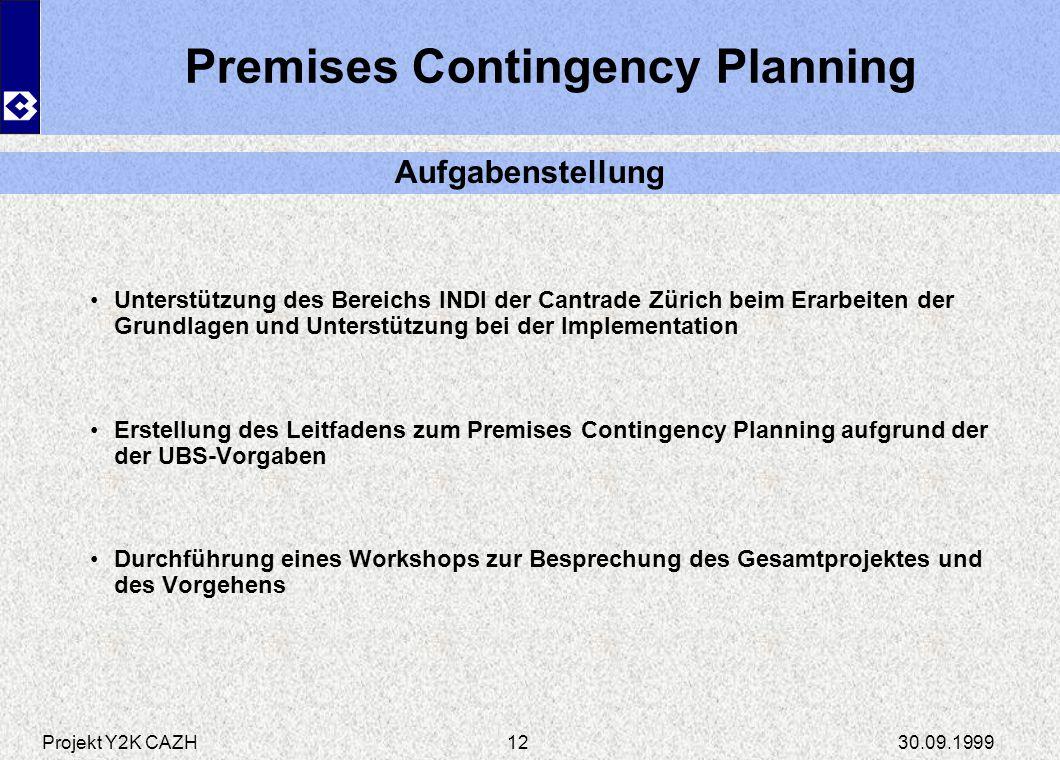 Projekt Y2K CAZH30.09.199912 Premises Contingency Planning Unterstützung des Bereichs INDI der Cantrade Zürich beim Erarbeiten der Grundlagen und Unte