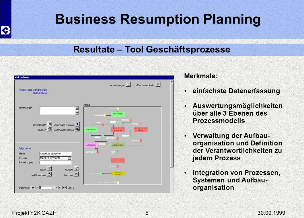 Projekt Y2K CAZH30.09.19995 Business Resumption Planning Resultate – Tool Geschäftsprozesse Merkmale: einfachste Datenerfassung Auswertungsmöglichkeit
