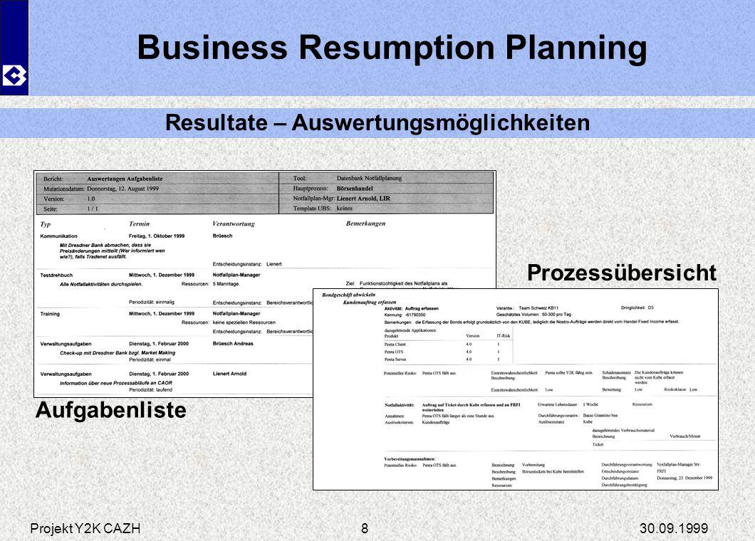 Projekt Y2K CAZH30.09.19999 Business Resumption Planning Resultate – Auswertungsmöglichkeiten Verbindung Systeme-Prozesse