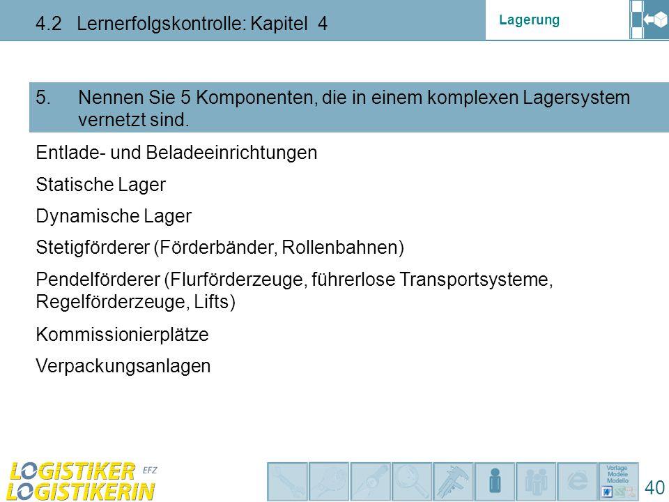 Lagerung 4.2 Lernerfolgskontrolle: Kapitel 4 40 5. Nennen Sie 5 Komponenten, die in einem komplexen Lagersystem vernetzt sind. Entlade- und Beladeeinr