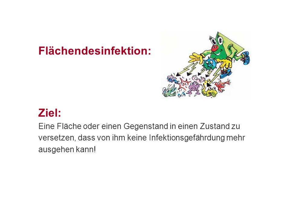 Flächendesinfektion Das Ausmaß der Reduktion das ein Desinfektionsmittel erreichen muss, ist wissenschaftlich festgelegt Das Desinfektionsmittel muss in der Lage sein, 99,999% aller Bakterien und Pilze zu entfernen und/oder 99,99% der Viren Von 100 000 Keimen darf einer übrig bleiben Die Infektionskette wird unterbrochen