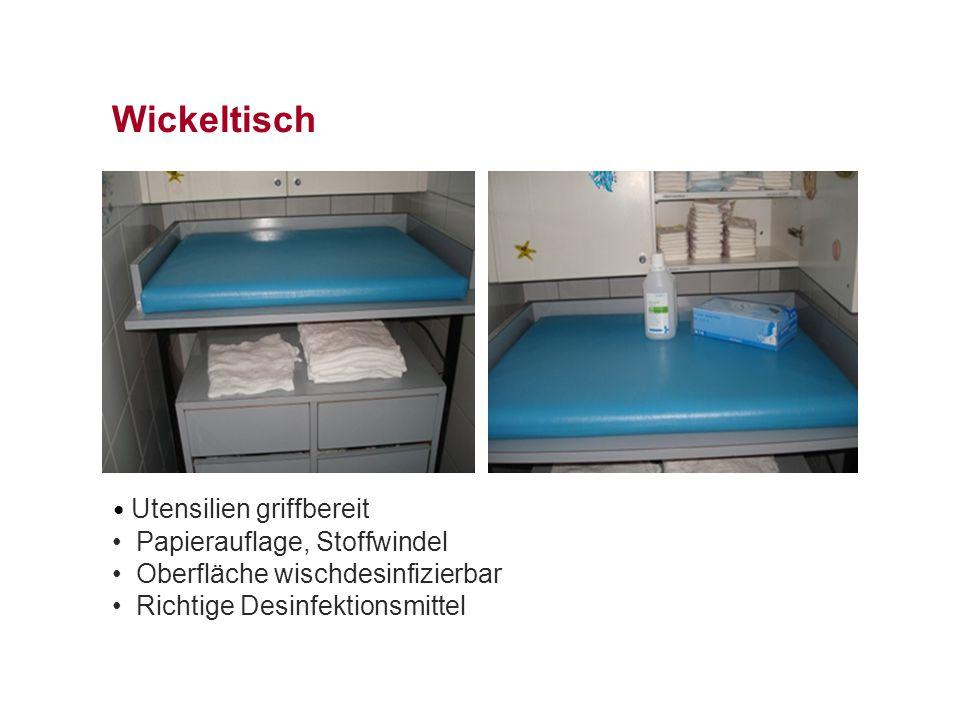 Wickeltisch Utensilien griffbereit Papierauflage, Stoffwindel Oberfläche wischdesinfizierbar Richtige Desinfektionsmittel