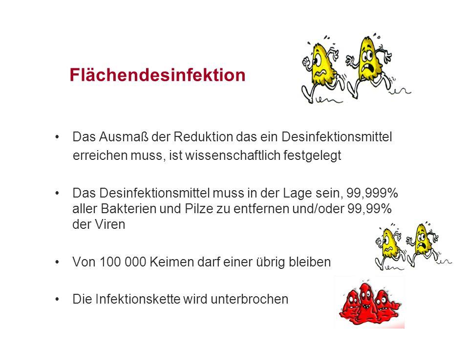 Flächendesinfektion Das Ausmaß der Reduktion das ein Desinfektionsmittel erreichen muss, ist wissenschaftlich festgelegt Das Desinfektionsmittel muss