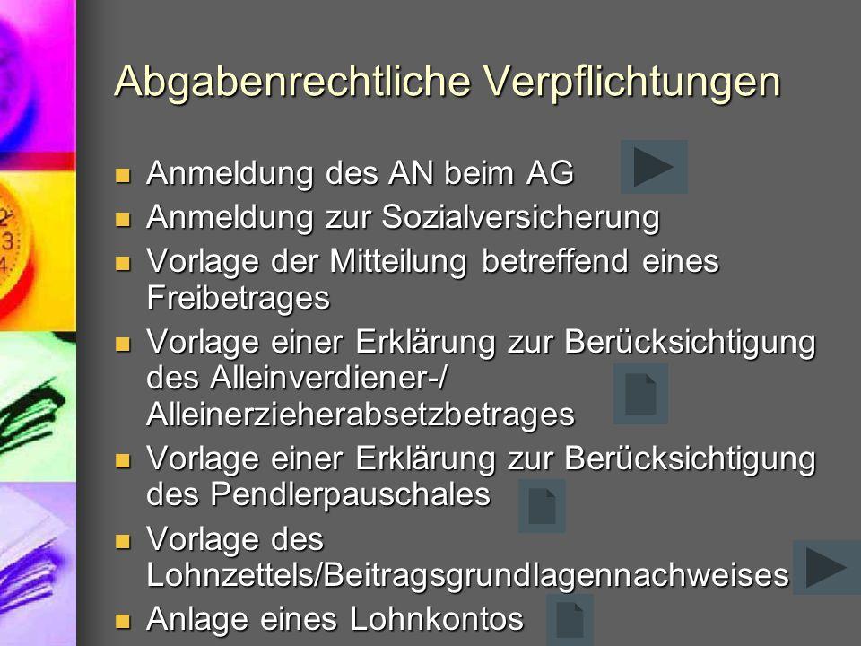 Anmeldung des AN beim AG Arbeitnehmer gibt unter Vorlage einer Urkunde (z.B Reisepass, Führerschein) folgende Daten bekannt: Name Name Versicherungsnummer Versicherungsnummer Wohnsitz Wohnsitz