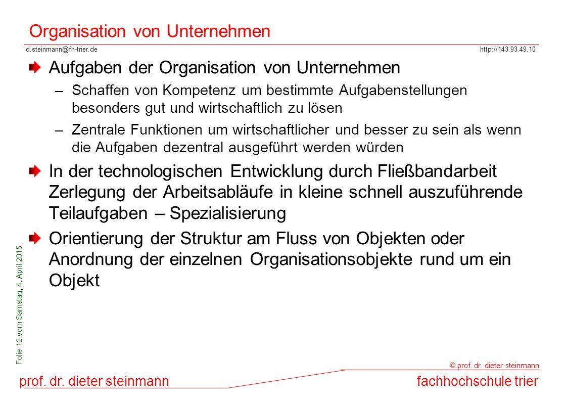 d.steinmann@fh-trier.dehttp://143.93.49.10 prof. dr. dieter steinmannfachhochschule trier © prof. dr. dieter steinmann Folie 12 vom Samstag, 4. April