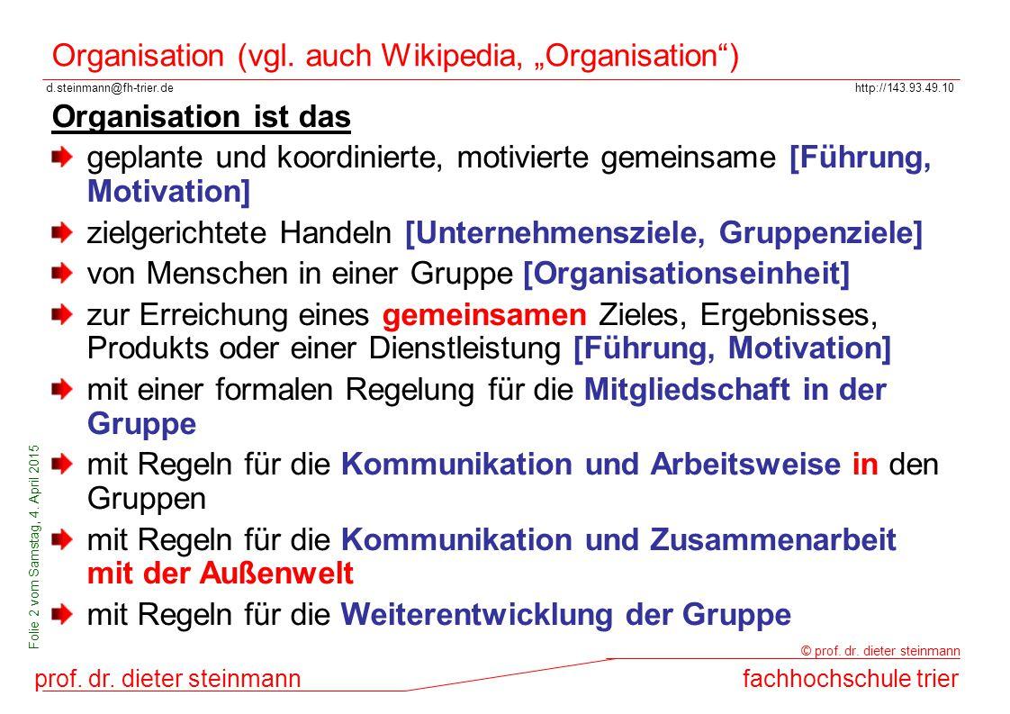 d.steinmann@fh-trier.dehttp://143.93.49.10 prof. dr. dieter steinmannfachhochschule trier © prof. dr. dieter steinmann Folie 2 vom Samstag, 4. April 2