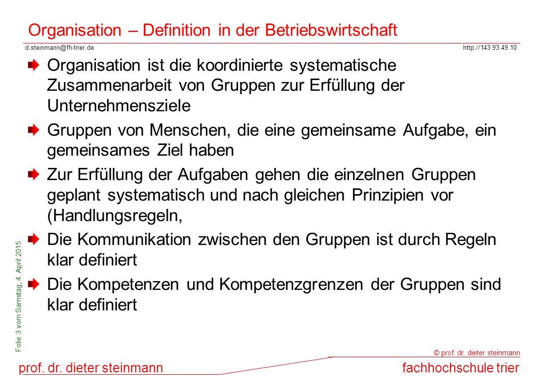 d.steinmann@fh-trier.dehttp://143.93.49.10 prof. dr. dieter steinmannfachhochschule trier © prof. dr. dieter steinmann Folie 3 vom Samstag, 4. April 2