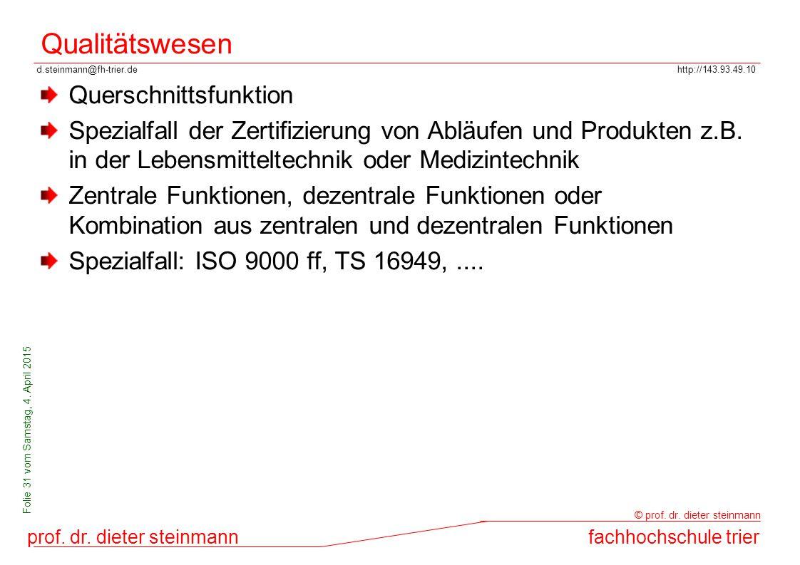 d.steinmann@fh-trier.dehttp://143.93.49.10 prof. dr. dieter steinmannfachhochschule trier © prof. dr. dieter steinmann Folie 31 vom Samstag, 4. April