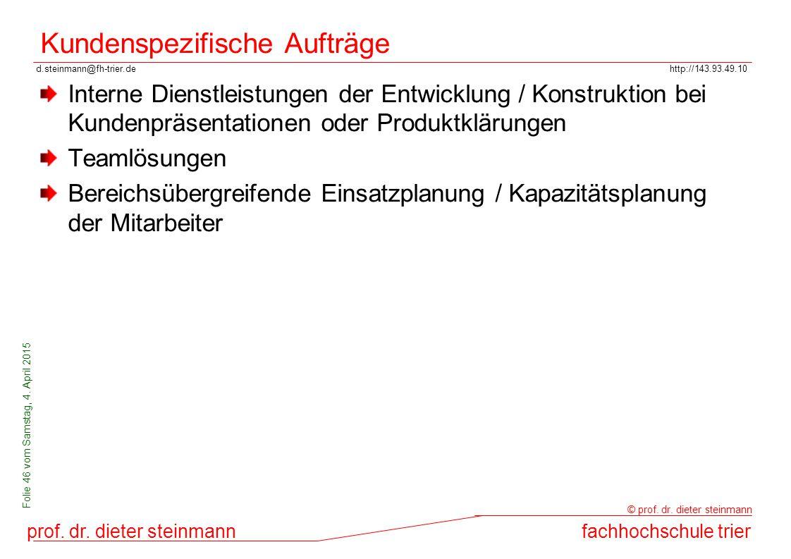 d.steinmann@fh-trier.dehttp://143.93.49.10 prof. dr. dieter steinmannfachhochschule trier © prof. dr. dieter steinmann Folie 46 vom Samstag, 4. April