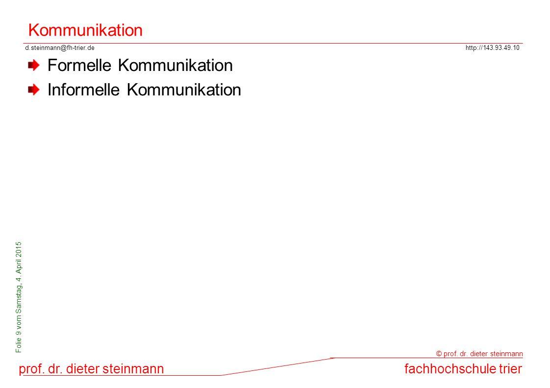 d.steinmann@fh-trier.dehttp://143.93.49.10 prof. dr. dieter steinmannfachhochschule trier © prof. dr. dieter steinmann Folie 9 vom Samstag, 4. April 2