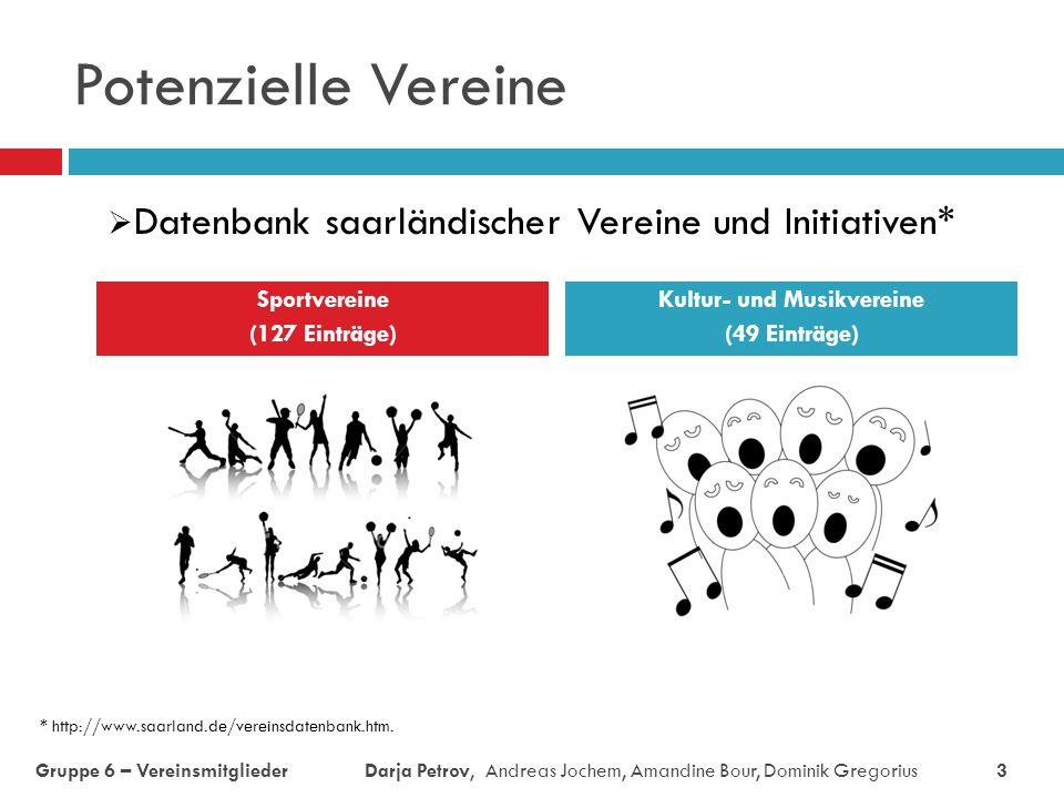 Potenzielle Vereine Sportvereine (127 Einträge) Kultur- und Musikvereine (49 Einträge)  Datenbank saarländischer Vereine und Initiativen* Gruppe 6 –