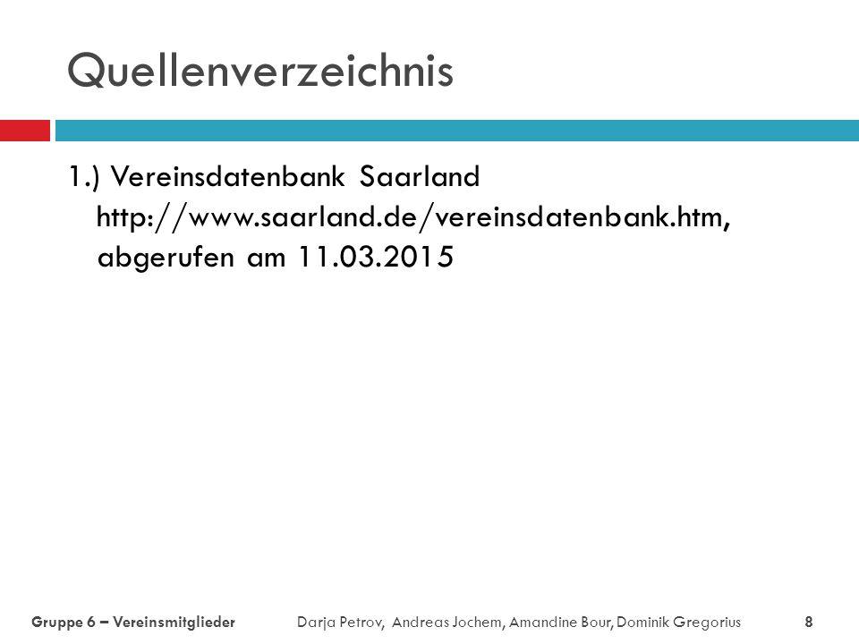 Quellenverzeichnis 1.) Vereinsdatenbank Saarland http://www.saarland.de/vereinsdatenbank.htm, abgerufen am 11.03.2015 Gruppe 6 – Vereinsmitglieder Dar