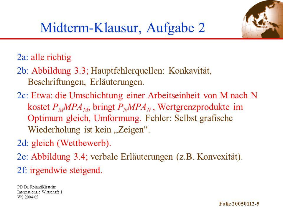 PD Dr. RolandKirstein: Internationale Wirtschaft 1 WS 2004/05 Folie 20050112-5 Midterm-Klausur, Aufgabe 2 2a: alle richtig 2b: Abbildung 3.3; Hauptfeh
